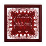Rojo+Caja de regalo blanca del aniversario de boda