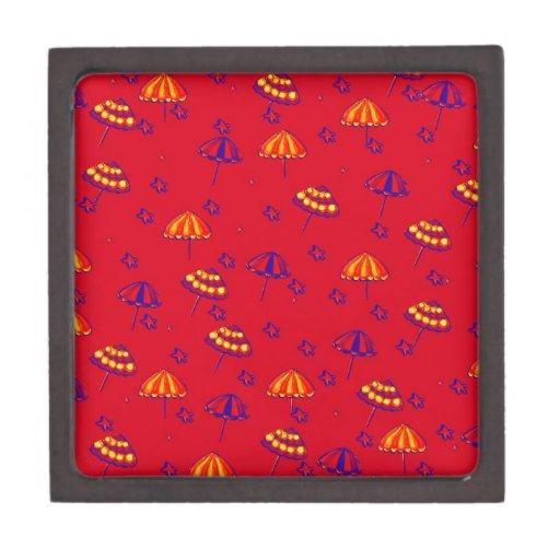 Rojo caprichoso del arte popular de los parasoles  caja de regalo de calidad