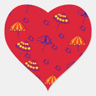 Rojo caprichoso del arte popular de los parasoles pegatina en forma de corazón