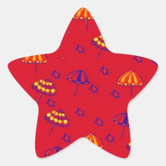 Rojo caprichoso del arte popular de los parasoles pegatina en forma de estrella