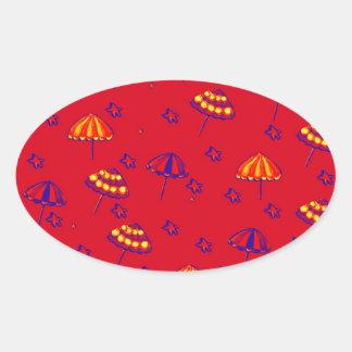 Rojo caprichoso del arte popular de los parasoles pegatina ovalada