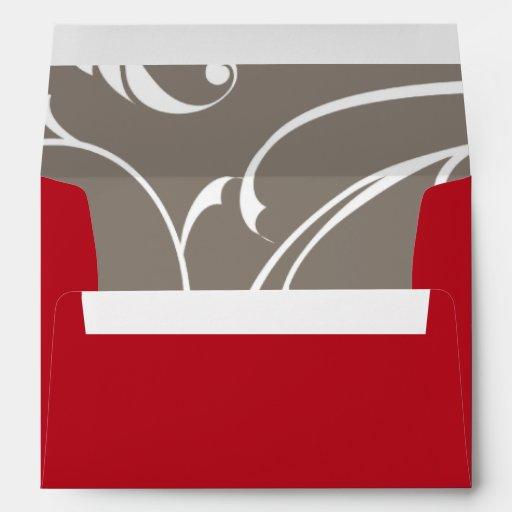 rojo carmesí de la opción 3 del sobre 5x7/BG gris