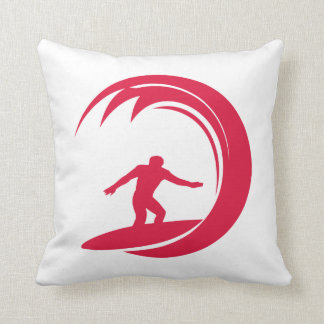 Rojo carmesí que practica surf almohada