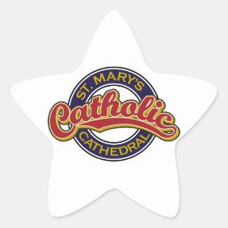 Rojo católico de la catedral de St Mary en azul Calcomanía Forma De Estrella Personalizada
