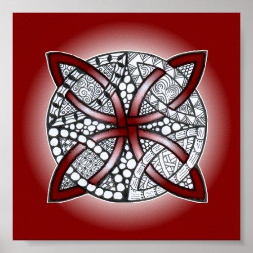 Rojo céltico del marrón del Doodle del nudo Póster