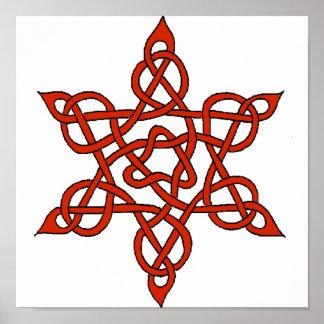 Rojo céltico del nudo 9 póster