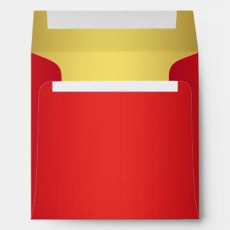 Rojo cereza y sobres del lino del oro