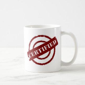 rojo certificado sello taza de café