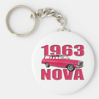 rojo chevy del carro de la Nova 1963 II Llaveros Personalizados