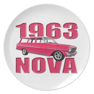 rojo chevy del carro de la Nova 1963 II Platos De Comidas