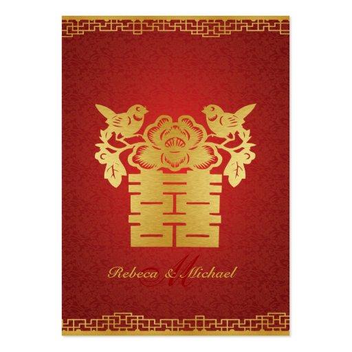 Rojo chino/felicidad doble RSVP (del oro PC 100) Tarjetas De Visita Grandes