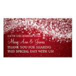 Rojo chispeante de la onda del boda de la etiqueta tarjeta de visita