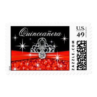 Rojo chispeante de la tiara de Quinceanera Bling Franqueo