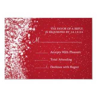 Rojo chispeante elegante de la onda de RSVP que se Invitación 8,9 X 12,7 Cm