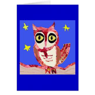 Rojo color de rosa del búho tarjeta pequeña