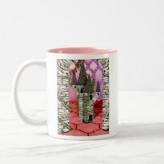 Rojo color de rosa en verano taza de dos tonos