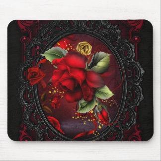 Rojo color de rosa mousepads