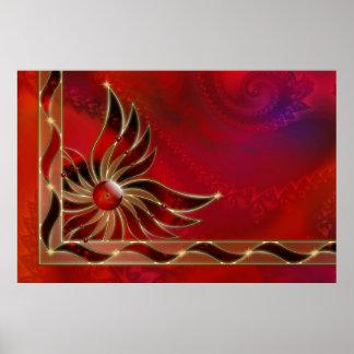 Rojo como la impresión de la llama impresiones