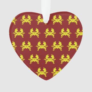 Rojo con alas del amarillo del escudo de la corona