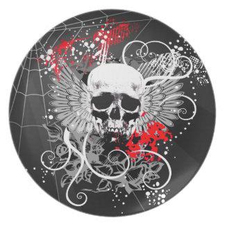Rojo con alas Grunge del fiesta de Spiderweb del c Plato De Comida