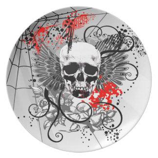 Rojo con alas Grunge del fiesta de Spiderweb del c Plato Para Fiesta