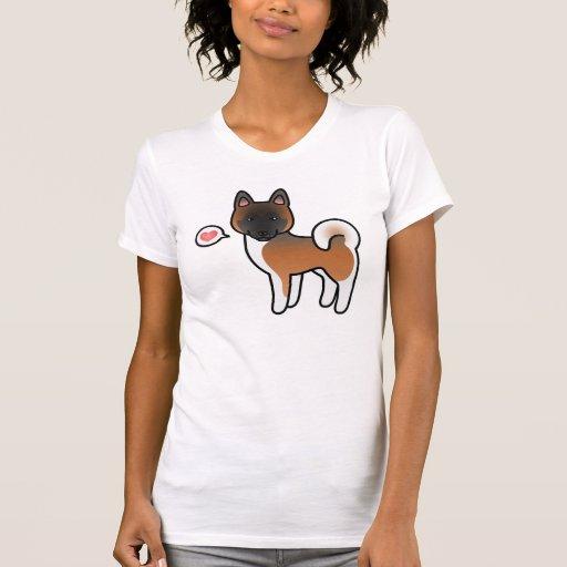 Rojo con el amor negro de Akita del dibujo animado Camiseta