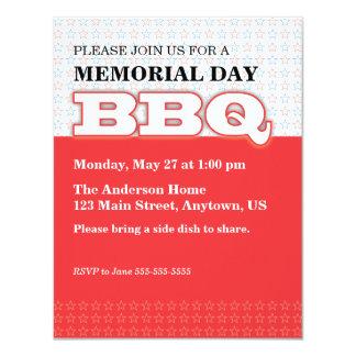 Rojo con el Bbq del Memorial Day de las estrellas Invitación 10,8 X 13,9 Cm