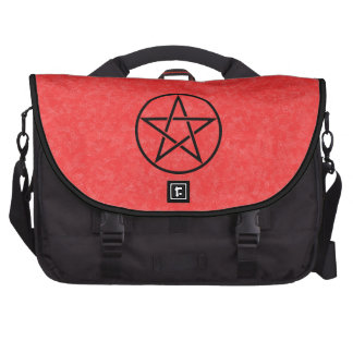 Rojo con el bolso negro del ordenador portátil del bolsa de ordenador