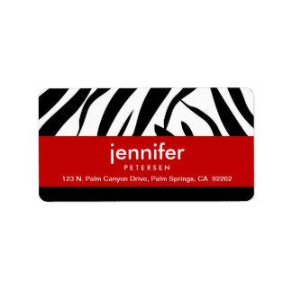 Rojo con el estampado de zebra, etiquetas de etiqueta de dirección
