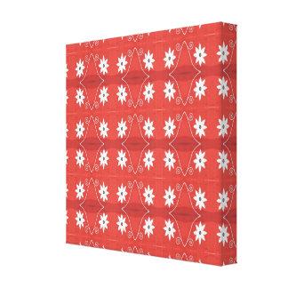 rojo con el modelo de flores blancas lona estirada galerías