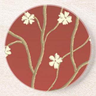 Rojo con el práctico de costa floreciente de las r posavasos manualidades