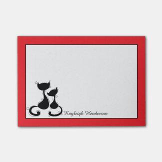 Rojo con la silueta de los gatos negros personaliz post-it notas