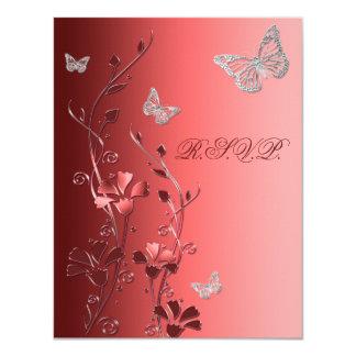 """Rojo con la tarjeta de contestación de plata de invitación 4.25"""" x 5.5"""""""