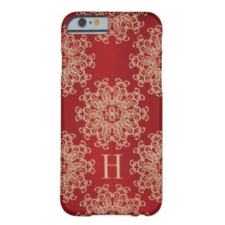 Rojo con monograma y medallón exótico del oro funda de iPhone 6 barely there