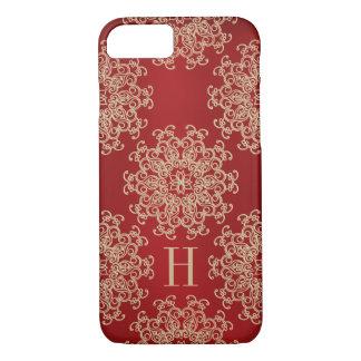 Rojo con monograma y medallón exótico del oro funda iPhone 7