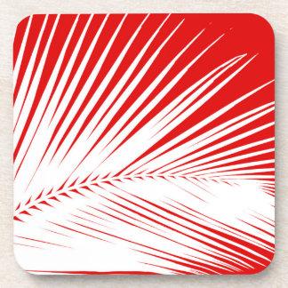 Rojo coralino blanco y oscuro de la hoja de palma posavaso