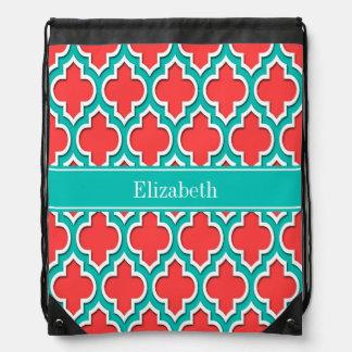 Rojo coralino, monograma marroquí del nombre del mochila