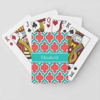 Rojo coralino, monograma marroquí del nombre del t cartas de póquer