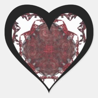Rojo, corazón negro blanco del fractal pegatina en forma de corazón