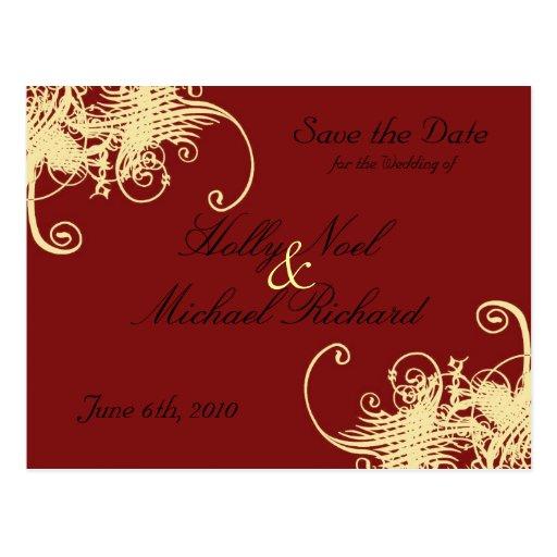 rojo, crema, boda, savethedate, suposición, con cl postal