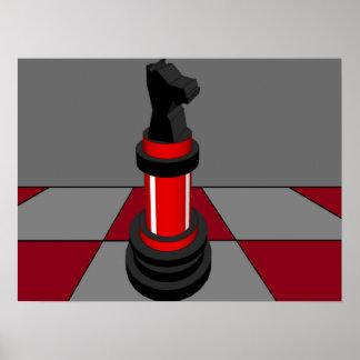 Rojo CricketDiane del tablero de ajedrez del cabal Posters