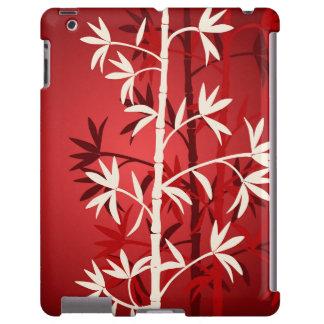 Rojo de bambú blanco funda para iPad