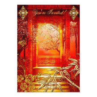 """Rojo de bambú del oro asiático de la opinión de la invitación 5"""" x 7"""""""