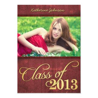 """Rojo de Borgoña y clase elegantes del oro de 2013 Invitación 5"""" X 7"""""""