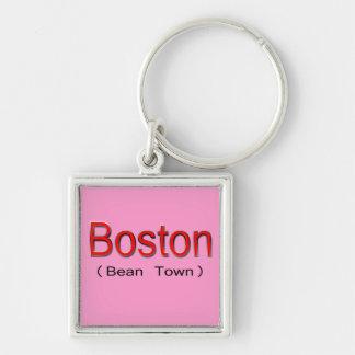 Rojo de Boston (ciudad de la haba) Llavero Cuadrado Plateado
