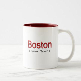 Rojo de Boston (ciudad de la haba) Taza Dos Tonos