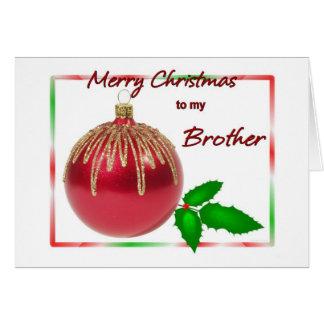 Rojo de Brother de las Felices Navidad y bola del Tarjeta De Felicitación