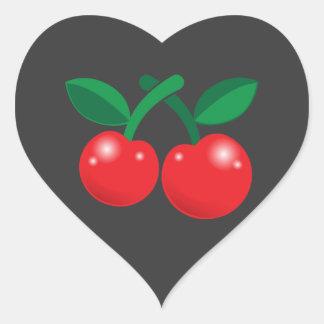 Rojo de cerezas con dos y tallos pegatina en forma de corazón