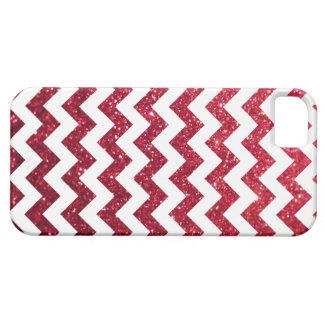 Rojo de Chevron del brillo iPhone 5 Carcasas
