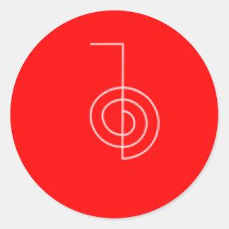 Rojo de Cho Ku REi Pegatina Redonda